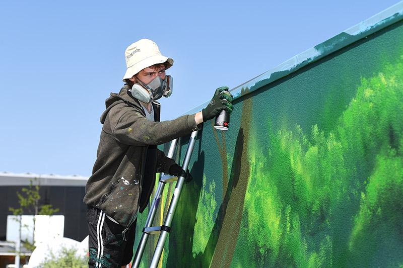 Graffiti-Kunst an der KLIMA ARENA fertig gestellt